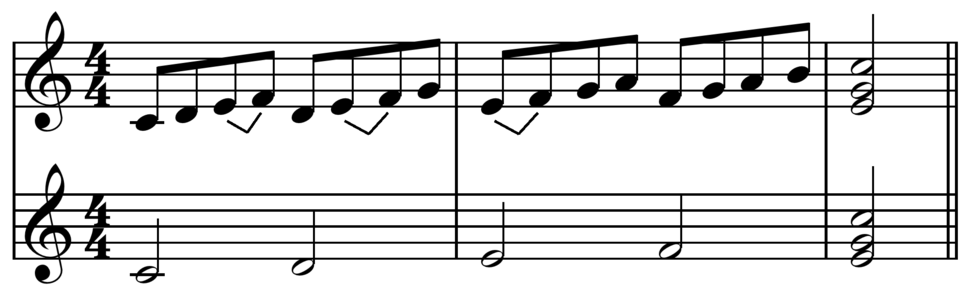 Sequence ascending from C tonal