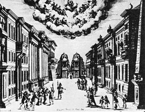 Giacomo Torelli - Set design for La finta pazza (Paris, 1645)