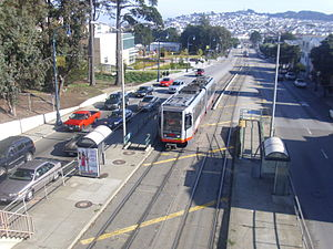 K Ingleside - An inbound train at Ocean and Phelan in 2009