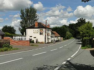 A145 road - The Shadingfield Fox public house alongside the A145