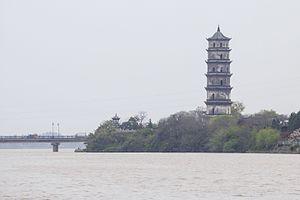 Xin River - Kuiwen Pagoda and Xin River in Shangrao