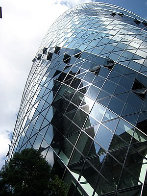 Double-skin facade - The Gherkin in London. Windows open on the outer skin to allow air to enter the cavity between the inner and outer skin.