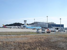 Shizuoka Airport aircraft in front of control tower.jpg