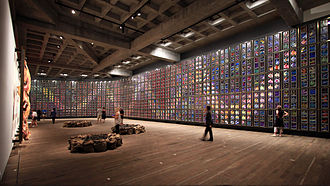 Sidney Nolan - The Museum of Old and New Art in Hobart, Tasmania was built to accommodate Nolan's Snake (1970–72), a giant Rainbow Serpent mural made of 1,620 individual paintings.