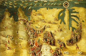 Fortifications of Mdina - Painting of the Great Siege of Malta with Mdina at the bottom