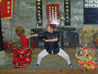 """Choy Li Fut - Sifu Alvaro Leon exhibited in position Mapu (Horse), the knock's """"Chap Choy"""" (Fist Penetrating) at the museum of Choy Li Fat of the Hung Sing's house, in Foshan, China."""