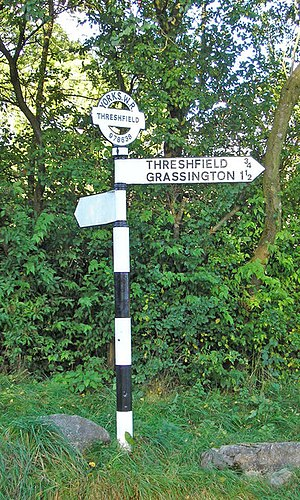 West Riding of Yorkshire - A typical West Riding fingerpost with grid reference