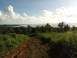 Landscape view of Silago and Pelada Rock (small island, middle of picture) taken from one of its farm-to-market roads