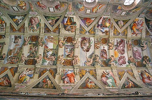 Plafond de la chapelle sixtine wikip dia - Fresque du plafond de la chapelle sixtine ...