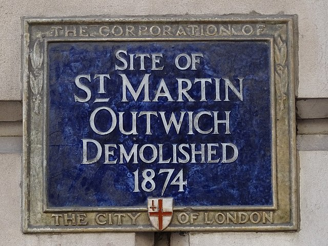 St. Martin Outwich, London blue plaque - Site of St. Martin Outwich demolished 1874