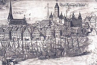 Bollhuset - Bollhuset to the left of the royal palace Tre Kronor in 1650. By Wolfgang Hartmann.