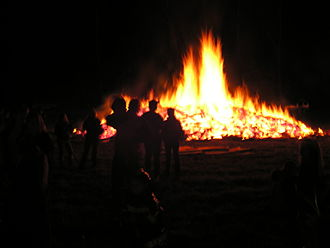 Knowlton Township, New Jersey - The annual Halloween bonfire at Smitty's in Delaware.