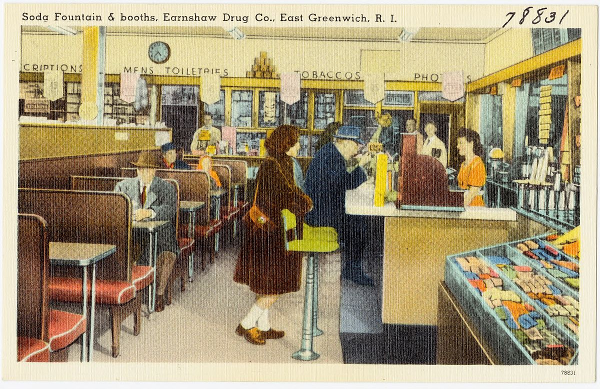 Soda fountain and booths, Earnshaw Drug Co., East Greenwich, R.I (78831).jpg