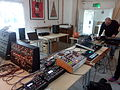 Some of the stuff people brought to the synth meetup - Hackney, London, 2014-11-09 (by Charles Hutchins).jpg