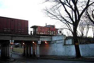 Bloomingdale Line - Soo Line Caboose running on Central Park Ave. Chicago in 2006