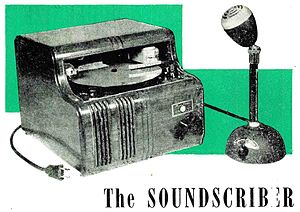 SoundScriber - Soundscriber machine from 1944 advertisement