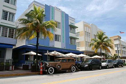 Miami Art Deco District, built during the 1920s-1930s SouthBeachMiamiBeach.jpg