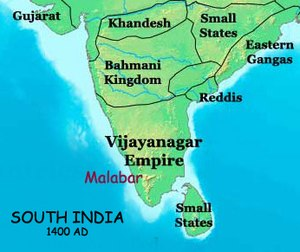 Vijayanagara Empire - Map of South India, 1400 AD