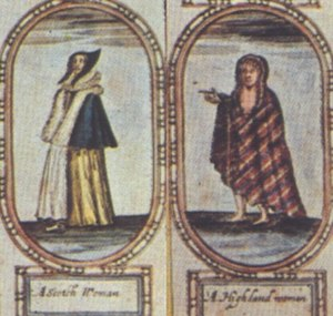 Women in early modern Scotland - Details from John Speed's map of Scotland in the version published in the Interregnum, showing Lowland and Highland women