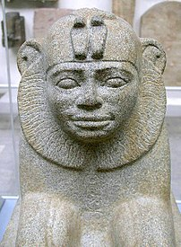 Granite sphinx of Taharqo, 25th Dynasty from a...