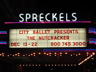 Spreckels Theater Building - Spreckels sign at night (2013)