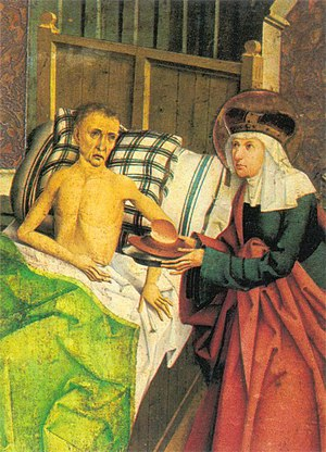 Agnes of Bohemia - Agnes of Bohemia Tending the Sick by the Bohemian Master, 1482