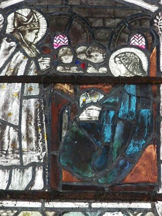 Hilda of Whitby - Aidan of Lindisfarne visits Hild. Gloucester Cathedral, by Christopher Whall.