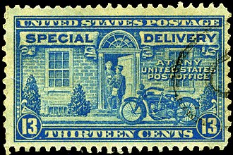 Express mail in the United States - 1944 13¢ Special Delivery stamp