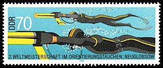 Underwater orienteering - Stamp commemorating the 2nd World Championship in Underwater Orienteering held at Neuglobsow, DDR in August 1985