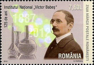Victor Babeș - Stamp issued to commemorate the 125th anniversary of the founding of the Victor Babeș National Institute