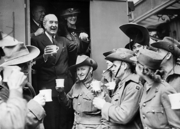 High Commissioner Bruce drinking tea with Australian troops in London during World War II Stanley Bruce and the Troops.png