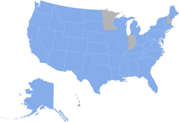 Map showing which states have state fossils (in blue; states without fossils are gray.) Statefossil 2016-02-02.png