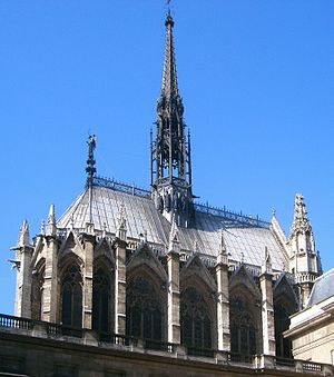 Sainte-Chapelle - View of the chapel from approximate position of the Palace gateway (lower parts obscured by much later buildings)