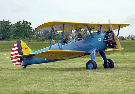 Boeing-Stearman Model 75 PT-13D biplane trainer from the 30s and 40s Stearman.e75.g-bswc.longshot.arp.jpg