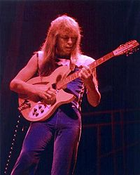 Steve Howe, lead guitarist for Yes, in 1977