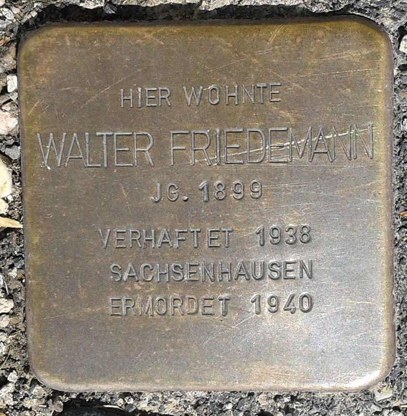 Stolperstein Hachenburg Rheinstraße 26 Walter Friedemann