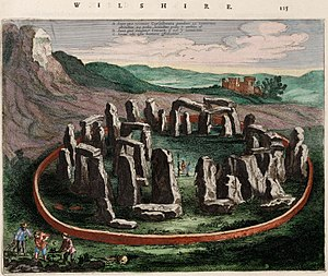 Countless stones - The circle of Stonehenge, depicted here in a 1645 illustration, has been associated with the story since at least the 16th century.