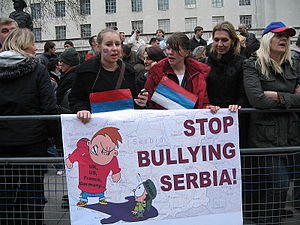 Demonstration in London supporting Serbia