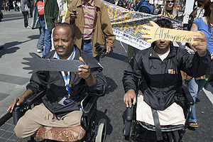 Convention on Cluster Munitions - Ban Advocates from Afghanistan and Ethiopia demonstrating during the May 2008 Dublin conference