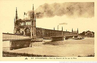 Rhine Bridge, Kehl - The completed bridge seen in 1920.
