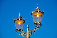Old Style Street Light With Lamps Near The Mönchbruch Hunting Lodge Rüsselsheim Am Main Germany