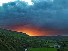Sunset beyond Brennand Valley (geograph 3092994).jpg