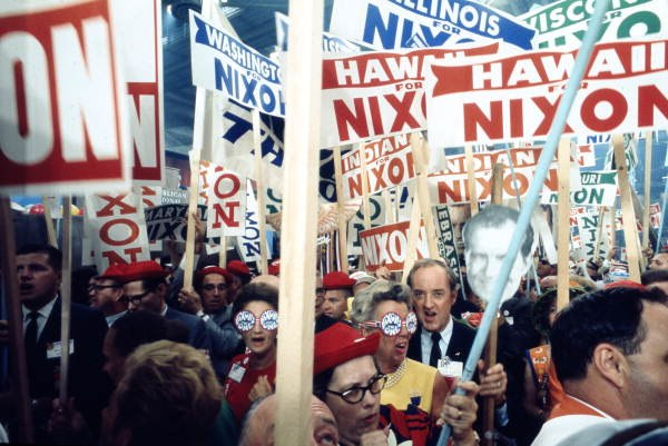 Supporters of Richard Nixon at the 1968 Republican National Convention Miami Beach, Florida