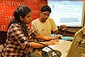 Surangama Basu with Sukanta Pal - Editing Session - Wikilearnopedia - Oxford Bookstore - Kolkata 2015-08-23 3605.JPG