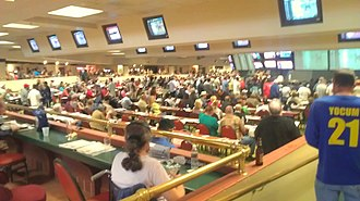 Del Mar Fairgrounds - Inside view of one of the rooms at Surfside Raceplace satellite wagering facility and sports bar of the Del Mar Fairgrounds.