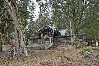 Suwa clan - Kamisha Maemiya, one of the two main shrines that comprise the Upper Shrine of Suwa. The Upper Shrine's high priest or Ōhōri resided in this area during the medieval period.