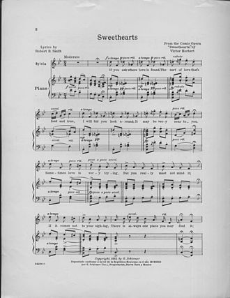 Victor Herbert - Sheet music for the title song from Sweethearts