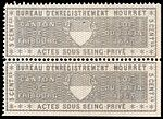 Switzerland Fribourg 1865 private acts revenue 5c - 22A Mourret pair.jpg