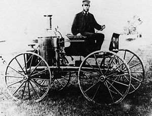 Sylvester H. Roper - Roper and his steam carriage, made sometime before 1870.
