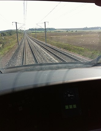 SNCF TGV POS - View from the cockpit aboard a TGV POS at 320 km/h